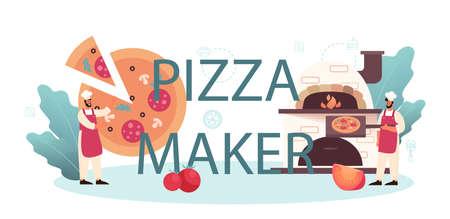 Pizza maker typographic header. Chef cooking tasty delicious pizza. Italian Vectores