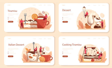 Tiramisu dessert web banner or landing page set. People cooking