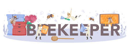 Beekeeper typographic header. Professional farmer with hive and honey