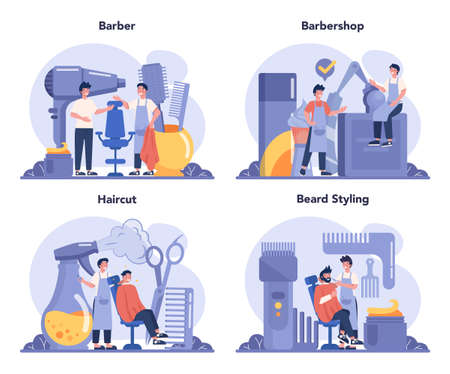Barber concept set. Idea of hair and beard care. Scissors and brush Иллюстрация