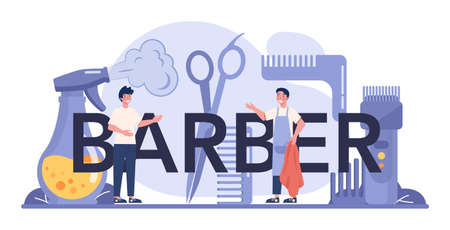 Barber typographic header. Idea of hair and beard care. Scissors and brush, shampoo and haircut process. Hair treatment and styling. Isolated flat illustration