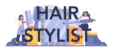 Hair stylist typographic header. Idea of hair care in salon. Scissors
