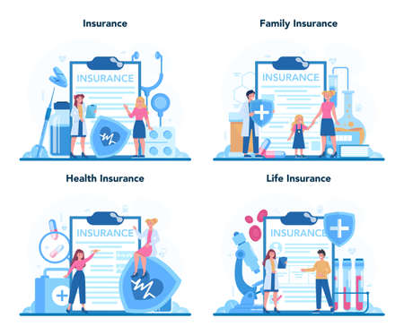 Health insurance concept set. People and doctor standing at the big