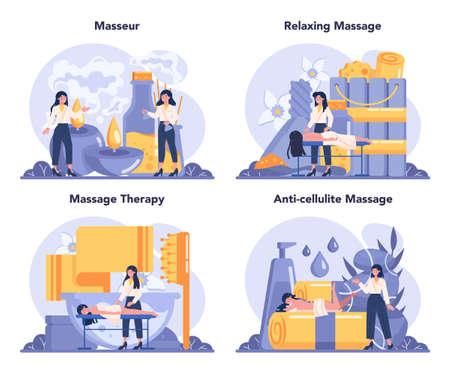Massage and masseur concept set. Spa procedure in beauty salon.