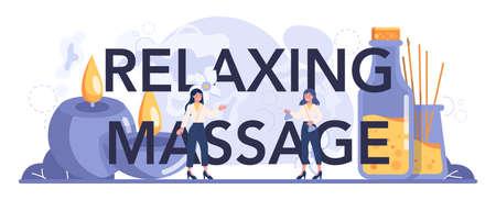 Relaxing massage typographic header. Spa procedure in beauty