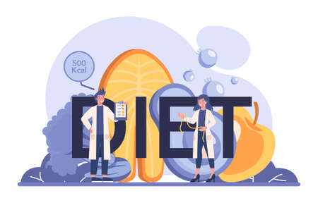 Diet typographic header. Nutrition therapy with healthy food