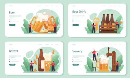 Beer web banner or landing page set. Glass bottle and vintage mug