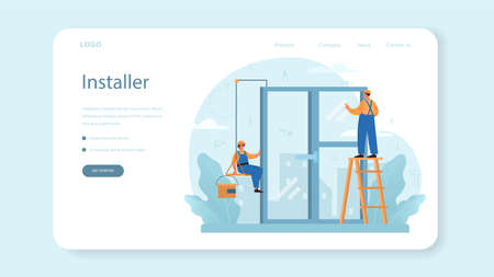 Installer web banner or landing page. Worker in uniform installing constructions