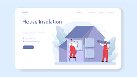 Insulation web banner or landing page. Thermal or acoustic insulation.