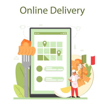 Spaghetti or pasta online service or platform. Italian food