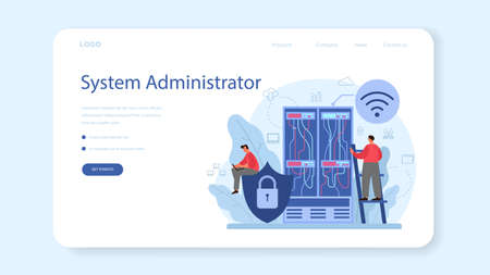 System administrator web banner or landing page. People working