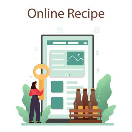 Beer online service or platform. Glass bottle and vintage mug Stock Illustratie