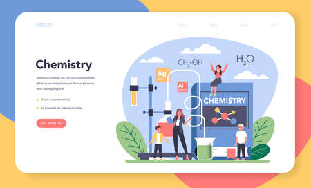Chemistry studying web banner or landing page. Chemistry lesson