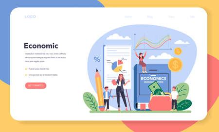 Economy school subject web banner or landing page. Student Vektoros illusztráció