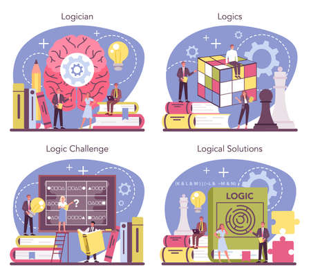 Logician concept set. Scientist systematicly studying logical