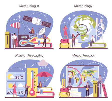 Meteorologist concept set. Weather forecaster studying and researching Vector Illustratie
