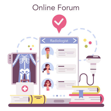 Radiologist online service or platform. Doctor examing X-ray