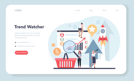 Trend watcher web banner or landing page. Specialist in tracking