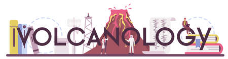 Volcanology typographic header. Geologist studying the processes