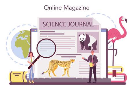 Zoologist online service or platform. Scientist exploring and studying Vecteurs