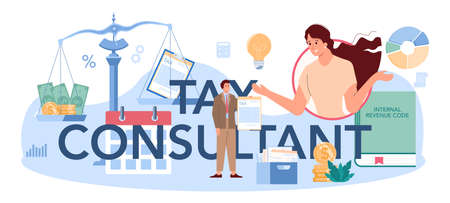 Tax consultant typographic header. Idea of accounting and payment