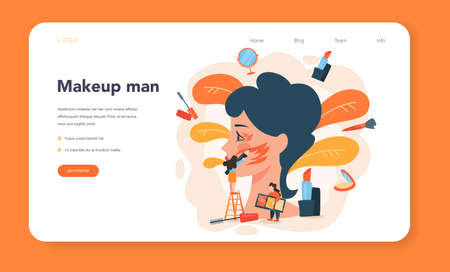 Make up artist web banner or landing page. Woman doing a beauty