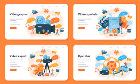 Videographer web banner or landing page set. Movie and cinema