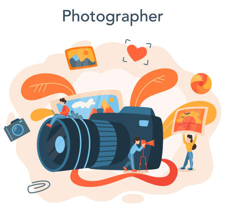 Photographer concept. Professional photographer with camera taking