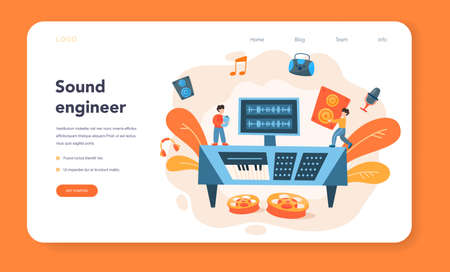 Sound engineer web banner or landing page. Music production