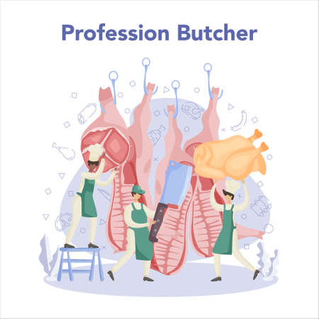 Butcher or meat man concept. Fresh meat and meat products