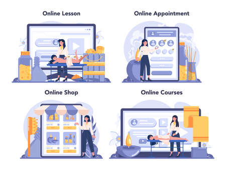 Massage and masseur online service or platform set. Spa procedure