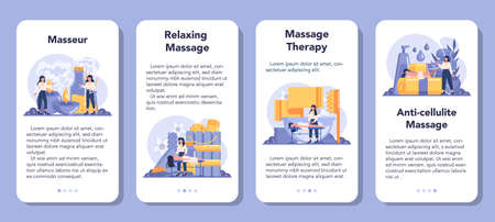 Massage and masseur mobile application banner set. Spa procedure