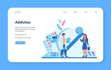 Narcologist web banner or landing page. Professional medical