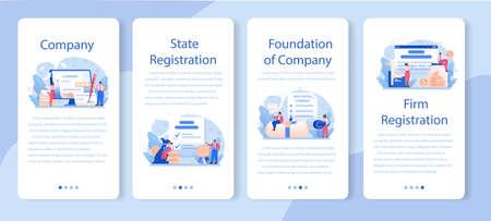 New company registration mobile application banner set. Business Çizim