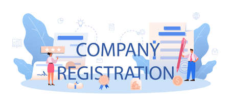 New company registration typographic header. Business start up