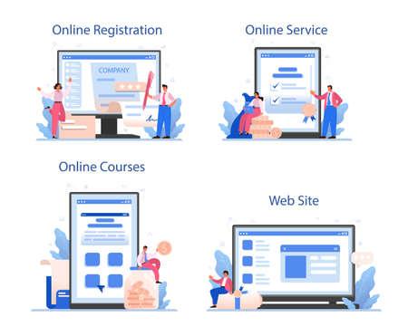 New company registration online service or platform set. Business