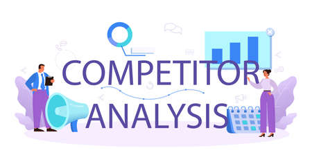 Competitor analysis typographic header. Market research and business