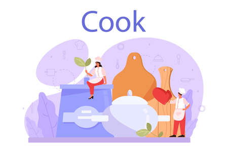Cook or culinary specialist. Chef in apron making tasty dish. 向量圖像