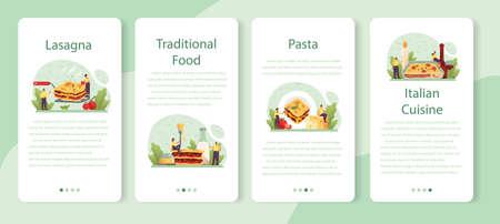 Tasty lasagna mobile application banner set. Italian delicious