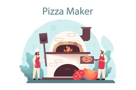 Pizzeria concept. Chef cooking tasty delicious pizza. Italian