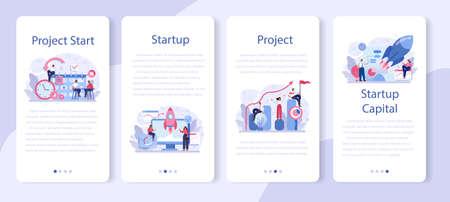 Project start mobile application banner set. Start up business Ilustração