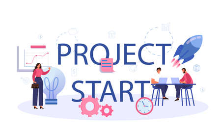 Project start typographic header. Start up business development