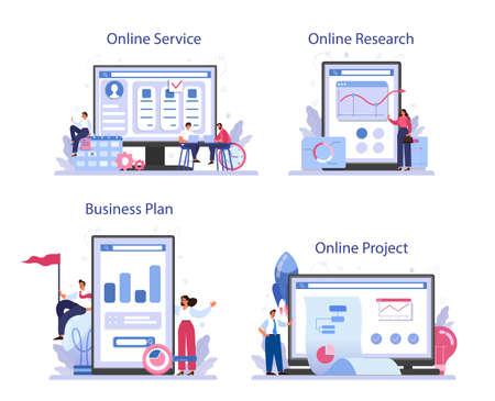 Project start online service or platform set. Start up business Ilustração