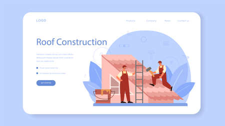 Roof construction worker web banner or landing page. Building