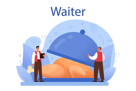 Waiter concept. Restaurant staff in the uniform, catering service