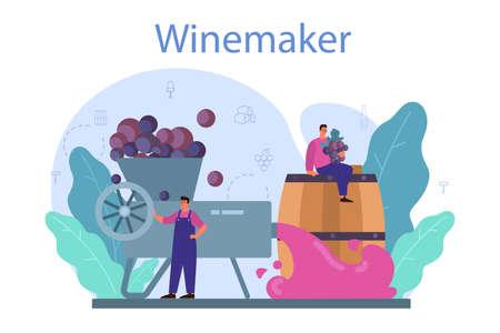 Wine maker concept. Grape wine in a wood barrel, bottle