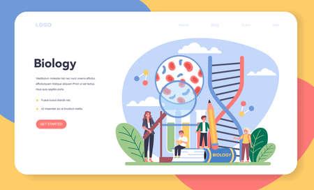 Biology school subject web banner or landing page. Scientist exploring 向量圖像