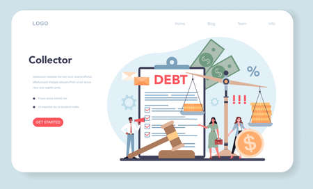 Debt collector web banner or landing page. Pursuing payment 벡터 (일러스트)