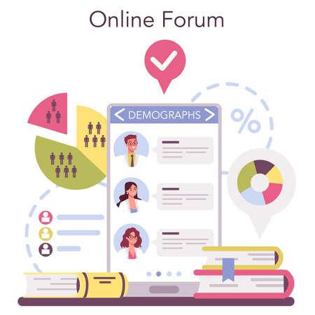 Demographer online service or platform. Scientist studying population