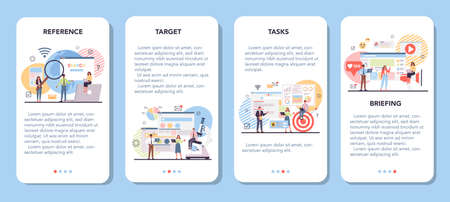 Competitor analysis mobile application banner set. Market research